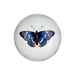 A small dish with a blue and white butterfly titled Blue Butterfly Dish