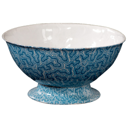 Blue Coral Salad Bowl, White Interior