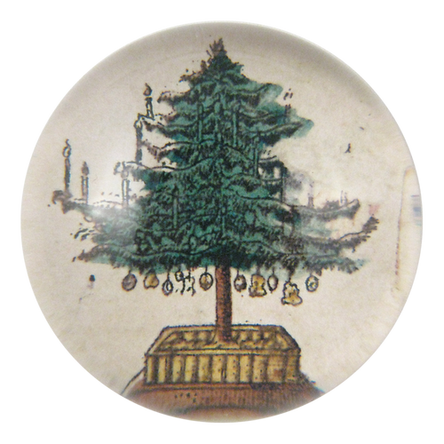 Holiday Tree handmade dome paperweight decoupage