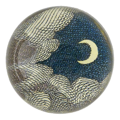 Clouds and Crescent Moon handmade dome paperweight decoupage