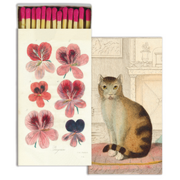 Pelargonium and Calm Cat four inch matchbox with fifty sticks