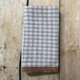 Gingham Tea Towel in Blue & Cognac