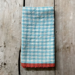 Gingham Tea Towel in Aqua & Orange
