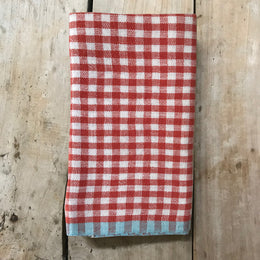 Gingham Tea Towel in Red & Aqua