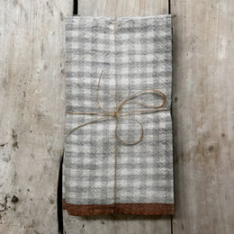 Set of 4 Gingham Napkins in Blue & Cognac
