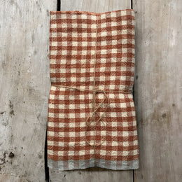 Set of 4 Gingham Napkins in Cognac & Blue