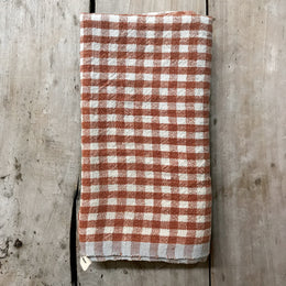 Gingham Tea Towel in Cognac & Blue