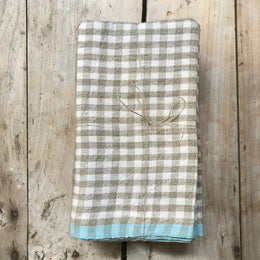 Set of 4 Gingham Napkins in Natural & Blue