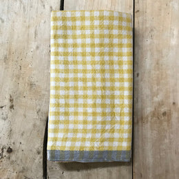 Gingham Tea Towel in Yellow & Grey