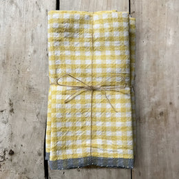 Set of 4 Gingham Napkins in Yellow & Gray