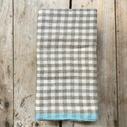 Gingham Tea Towel in Natural & Aqua