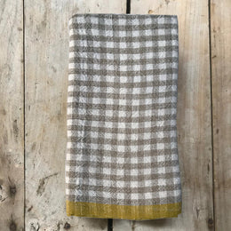Gingham Tea Towel in Natural & Dijon