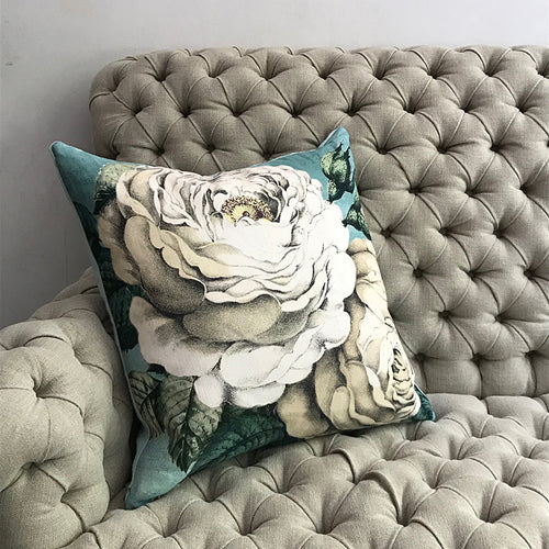 Swedish Blue Rose Pillow