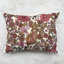Fleur Silk Velvet Cushion in Ivory