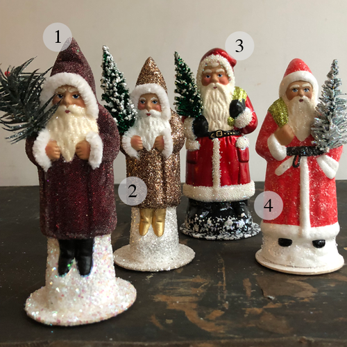 Ino Schaller Papier Mache Santas with Trees