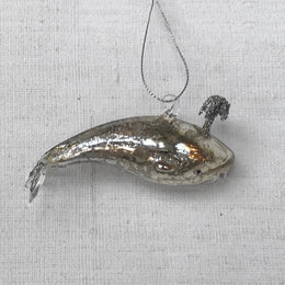 Tiny Shiny Silver Whale Ornament