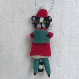 Felted Choir Cat in Red Ornament