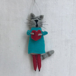 Felted Choir Cat in Teal Ornament