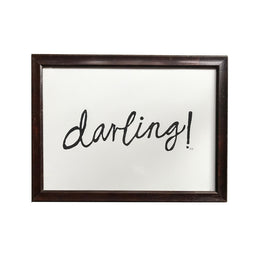 """Darling!"" Linocut in Vintage Frame"