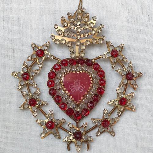 Large Jeweled Sacred Red Heart Ornament