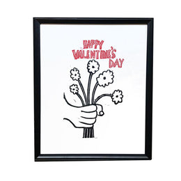 """Happy Valentine's Day"" Linocut in Vintage Frame"