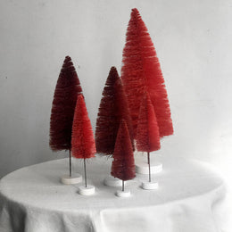 Set of 6 Rainbow Bottle Brush Trees in Red