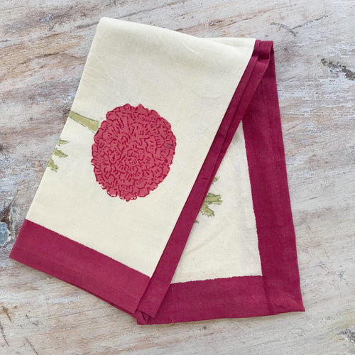 Set of 6 Red Flower French Napkins