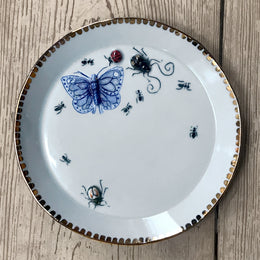 Butterfly & Bug Plate with Gold Spotted Rim