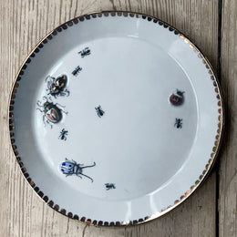 Bug Plate with Gold Spotted Rim