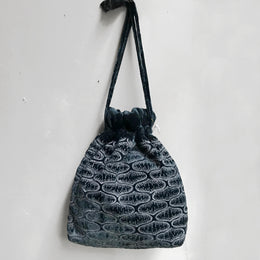 Silk Velvet Large Pouch in Indigo