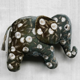 Moira Silk Velvet Embroidered Elephant in Shaded Lake