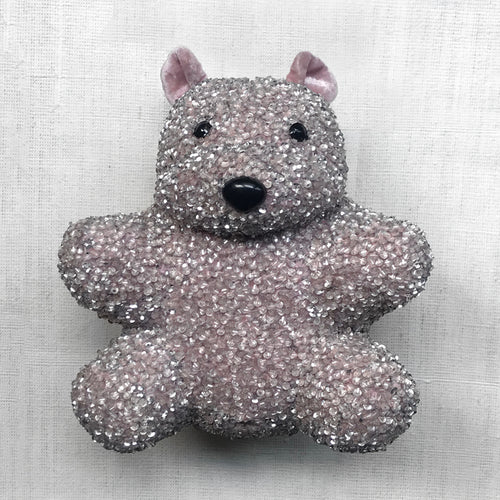 Luxus Silk Velvet Embroidered Bear in Old Rose