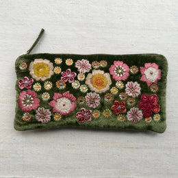 Beauty Embroidered Silk Velvet Cosmetic Zipper Pouch in Grass Green