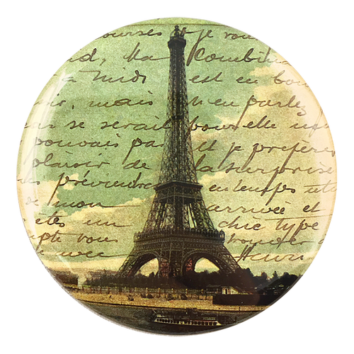 Paris Postcard handmade decoupage item available as a pocket mirror, magnet, button pin or bottle opener