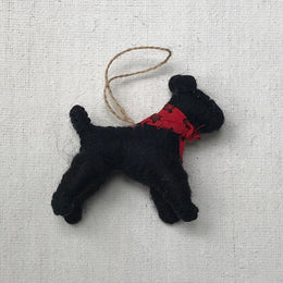 Black Dog with Red Bandana Ornament
