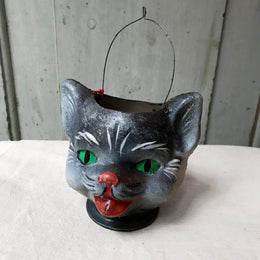 Halloween Papier Mâché Cat Candy Bucket