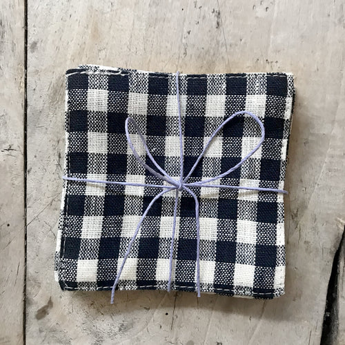 Fog Linen Coaster Set in Navy Gingham