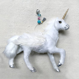 Prancing White Fur Unicorn Ornament
