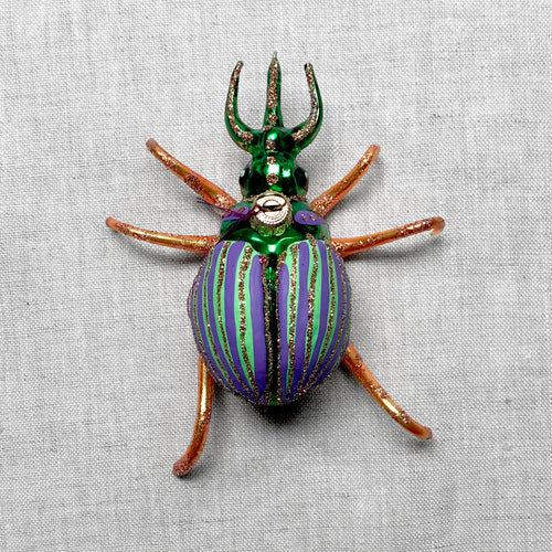 Orange & Green Beetle Ornament