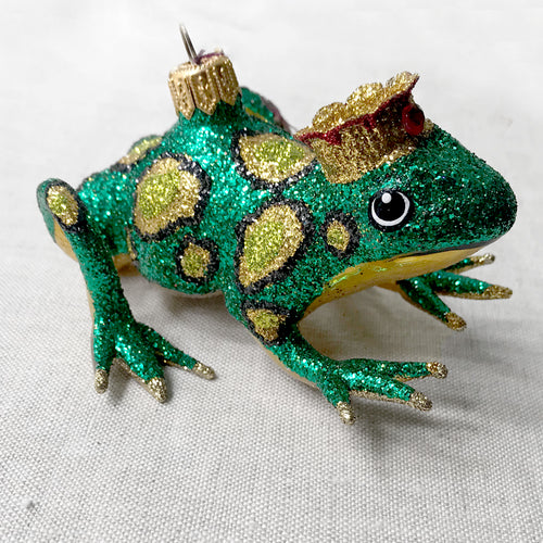 Spotted Frog with Crown Ornament