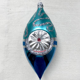 Silver & Blue Oval with Reflector Ornament