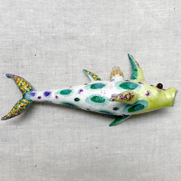 White & Green Spotted Fish Ornament