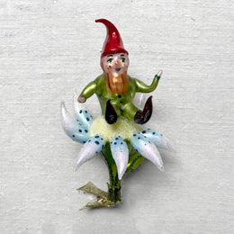 Red Gnome on Flower Clip-On Ornament handblown in Poland