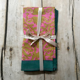 Patterned Napkin Set in Pink & Olive with Green Border