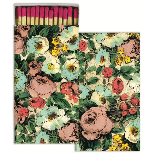 Floral Collage four inch matchbox with fifty sticks