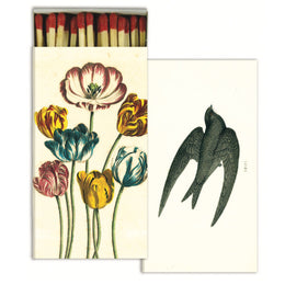 Variegated Tulips and Swift four inch matchbox with fifty sticks