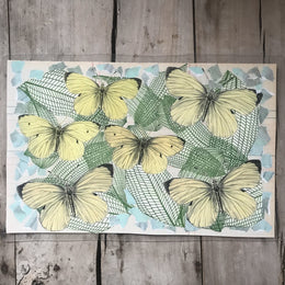 One of a Kind Collaged Mat - Yellow Butterflies