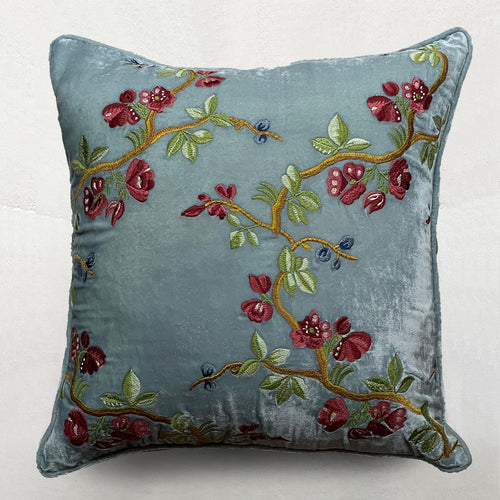 Blossom Silk Velvet Cushion in Arctic Blue