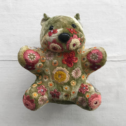 Beauty Silk Velvet Embroidered Bear in Shaded Mint