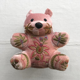 Madame Bovary Silk Velvet Embroidered Bear in Old Rose